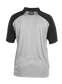 Back of a gray ColorSync polo with black sleeves and a black/gold Rawlings patch on the back neckline - SKU: CSP-BG/B image number null