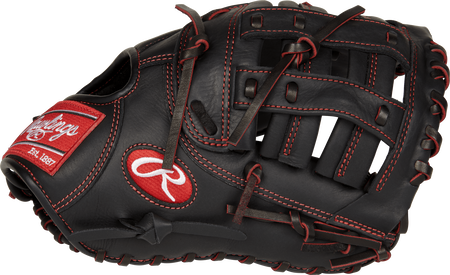 Thumb view of a black R9YPTFM16B R9 Series 12-inch youth first base mitt with a black Modified H web