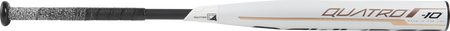 Barrel of a white FP9Q10 2019 Quatro softball bat with rose gold accents and a black handle