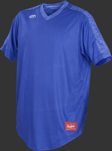 Front of Rawlings Royal Adult Short Sleeve Launch Jersey  - SKU #LNCHJ-DG-89