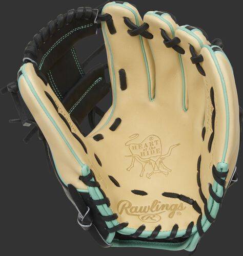Camel palm of a Rawlings HOH R2G infield glove with a black web and black laces - SKU: PROR314-2CBM