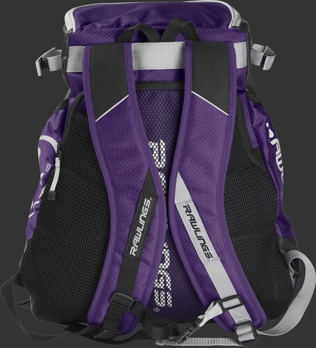 Back of a purple VELOBK Rawlings Velo backpack with purple shoulder straps