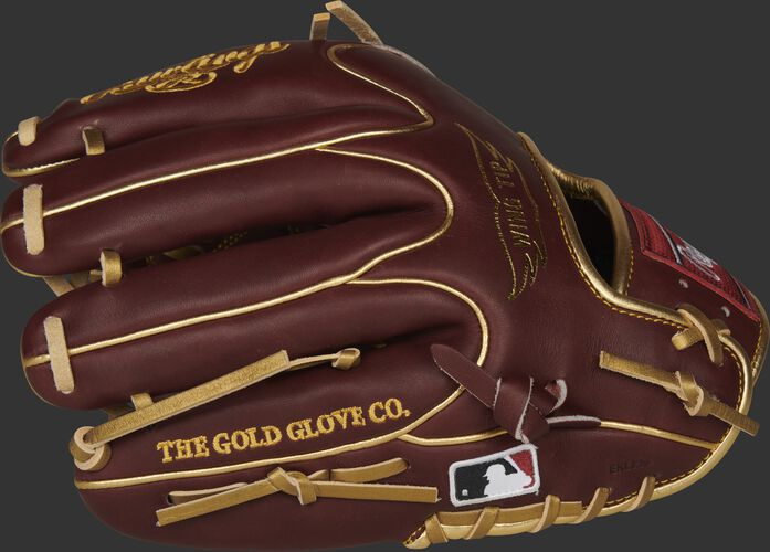 Dark sherry finger backs of a HOH R2G Wing Tip glove with the MLB logo on the pinkie - SKU: PROR205W-30SHG