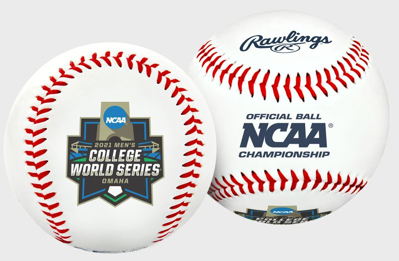 A white 2021 NCAA College World Series Replica baseball with the 2021 CWS logo - SKU: 35393012529