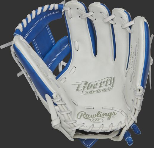 RLA715SB-2R Rawlings Liberty Advanced Color Series glove with a white palm, royal web and white laces