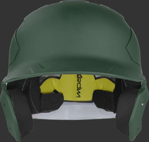 Front of a CAR07A dark green Rawlings high school/college MACH Carbon helmet