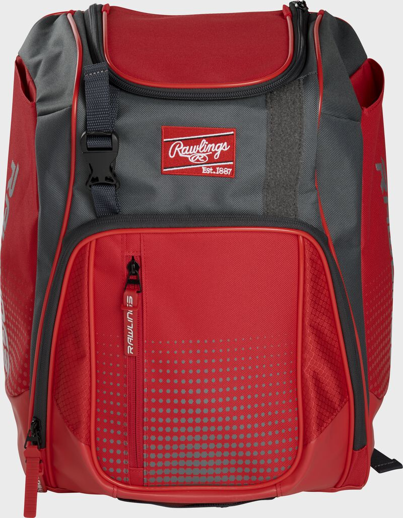 Front of a scarlet Franchise baseball backpack with gray accents and a scarlet Rawlings patch - SKU: FRANBP-S