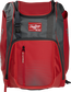 Front of a scarlet Franchise baseball backpack with gray accents and a scarlet Rawlings patch - SKU: FRANBP-S image number null