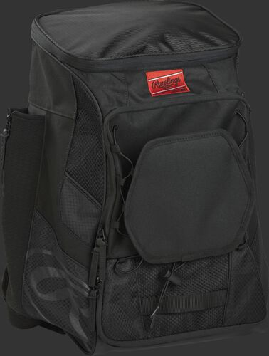 Front right of a black R600 Rawlings backpack without bats