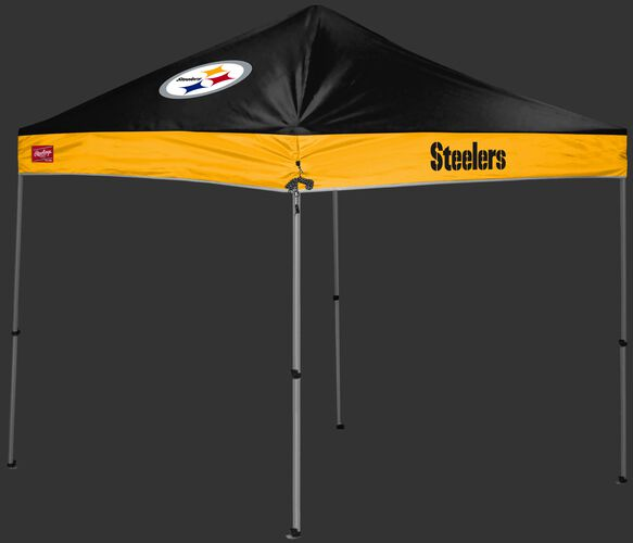 A black/gold Pittsburgh Steelers 9x9 shelter with a team logo on the left side - SKU: 03231082112