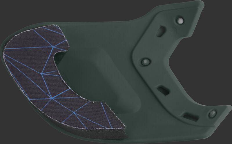 Padding on the inside of a dark green MEXTR Mach batting helmet extension