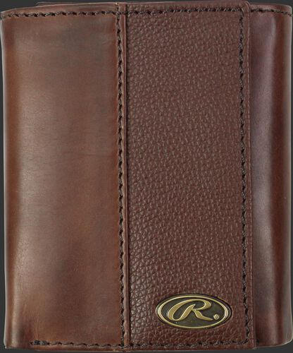 A brown RW80003-200 Bases loaded tri-fold wallet folded closed with a silver Oval R emblem in the bottom right corner