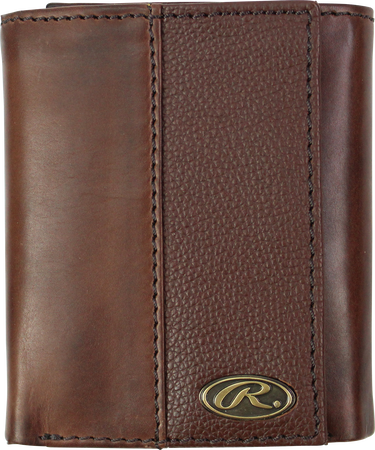 A brown RW80003-200 Bases loaded tri-fold wallet folded closed with a gold Oval R emblem in the bottom right corner