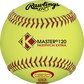 A yellow X120RYCAH K-Master Official 12-inch softball with red stitching image number null