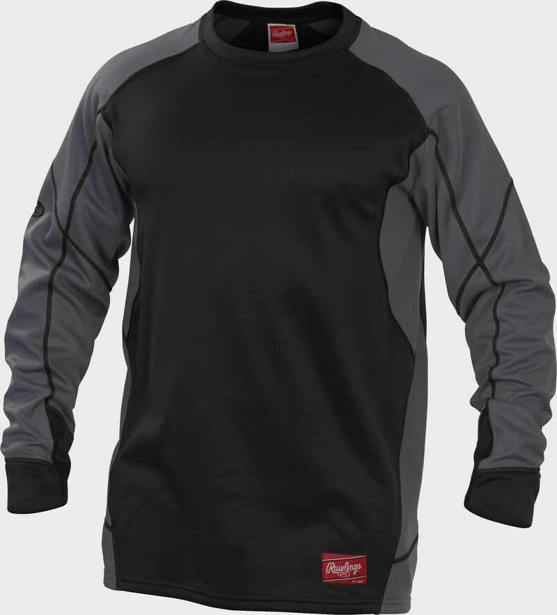 Black UDFP4 Dugout fleece pullover jacket with grey sleeves and black stitching