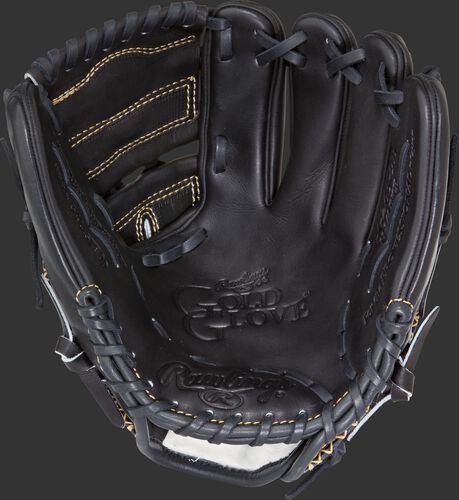 RGG205-9B Rawlings Gold Glove Series glove with a black palm, black web and black laces