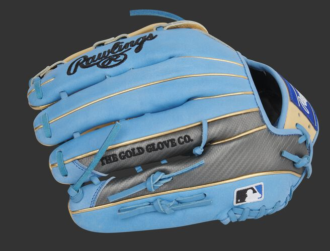 Hyper Shell trim on the columbia blue finger backs of a Heart of the Hide outfield glove - SKU: PROBH3-6CCBG