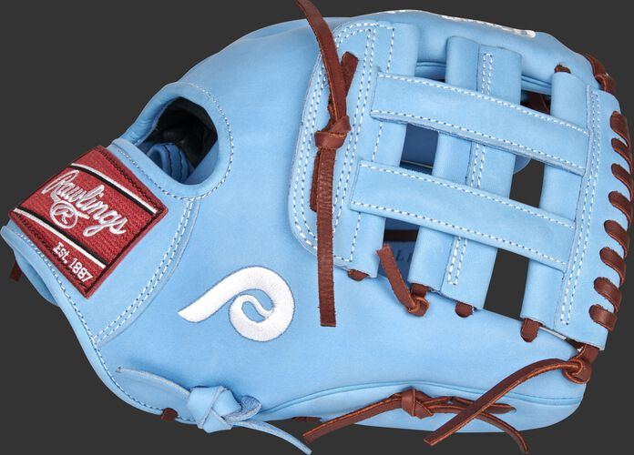 Thumb of a 2021 Philadelphia Phillies Heart of the Hide glove with the Phillies logo on the thumb - SKU: RSGPRO204-6PHI