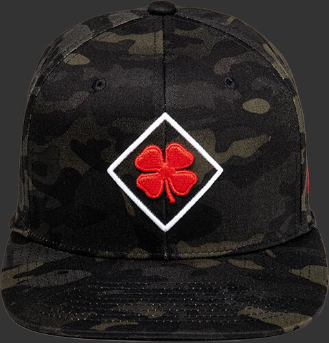 Front of a Rawlings Black Clover Diamond MultiCam hat with a red logo on the front - SKU: BCR1DM0071