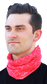 A guy wearing a red adult multi-functional neck gaiter around his neck - SKU: RC40005-600 image number null