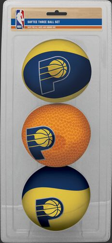 Rawlings Yellow, Brown, and Blue NBA Indiana Pacers Three-Point Softee Basketball Set With Team Logo SKU #03524201114