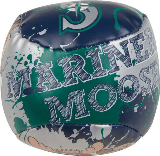 Top of Rawlings Seattle Mariners Quick Toss 4'' Softee Baseball With Team Mascot Name On Front In Team Colors SKU #01320015112