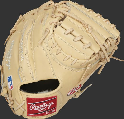 Back of a camel 2021 Pro Preferred catcher's mitt with a red Rawlings patch - SKU: PROSCM43C