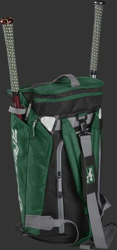 Right angle of a dark green R601 Hybrid players duffel bag standing up with two bats