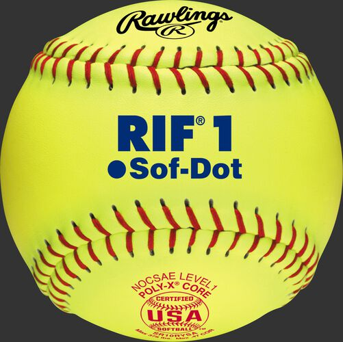 "A 10"" USA RIF official softball with red stitching and red USA softball stamp - SKU: SR10RYSA"