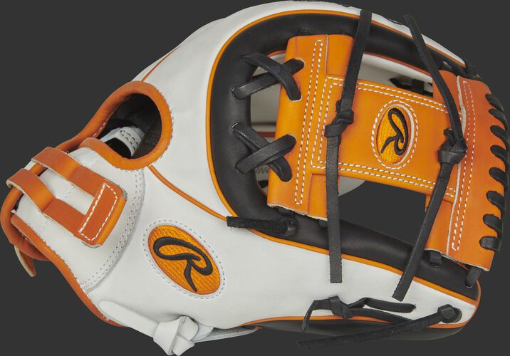 Thumb of a white/black RLA715SB-2OB Liberty Advanced Color Series 11.75-inch infield glove with an orange I-web