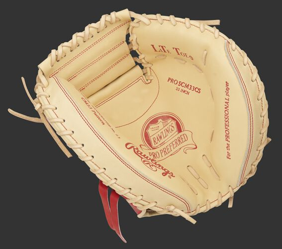 Camel palm of a Rawlings Pro Preferred catcher's mitt with red stamping and camel laces - SKU: PROSCM33CS