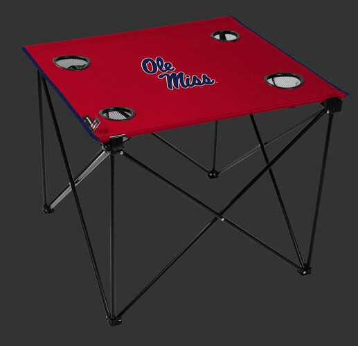 A red NCAA Ole Miss Rebels deluxe tailgate table with four cup holders and team logo printed in the middle SKU #00713087111