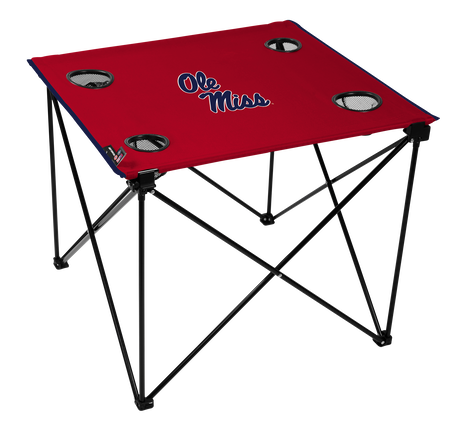 A red NCAA Ole Miss Rebels deluxe tailgate table with four cup holders and team logo printed in the middle