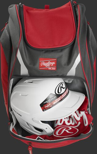 A scarlet Legion backpack with a helmet and other gear in the main compartment - SKU: LEGION-S