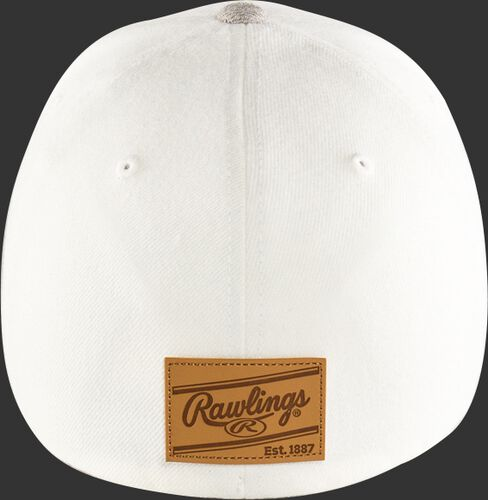 Back of a white Rawlings Black Clover Leather Patch fitted hat with a leather Rawlings patch logo - SKU: BC0LPF0071