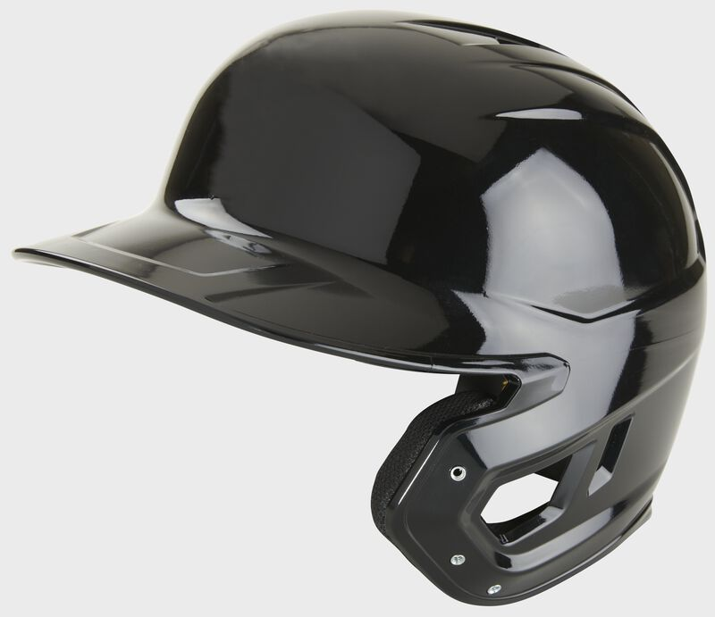A black Mach single ear right handed batting helmet - SKU: MSE01A-B-RHB