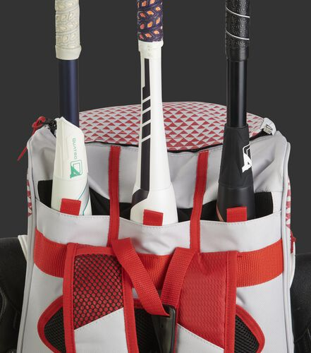 Bat compartment of a white/scarlet R800 fastpitch softball bag holding 3 bats