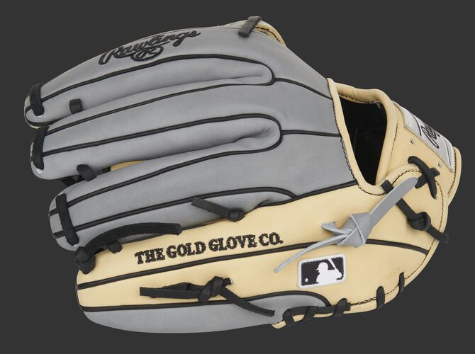 Gray finger backs of a Heart of the Hide infield glove with the MLB logo on the pinkie - SKU: PRO315-6CG