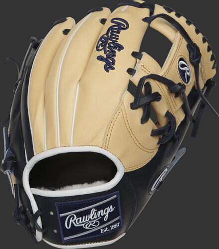 PROSNP4-2CN Rawlings Pro Preferred I web glove with a camel back and navy trim