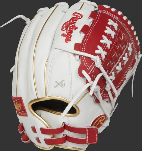 RLA125-18S white/scarlet 12.5-inch Liberty Advanced outfield/pitcher's glove with gold binding/welting and pull-strap back