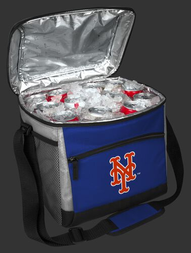 An open New York Mets 24 can cooler filled with ice and drinks - SKU: 10200017111