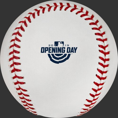 The official MLB Opening Day 2019 logo stamped on the ROMLBOD19 baseball