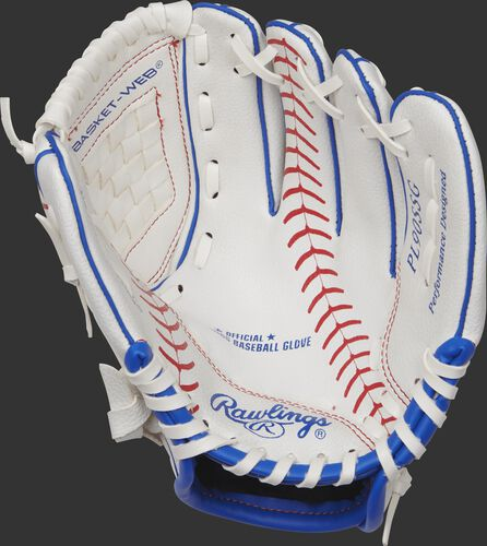 PL91SSG Rawlings 9-inch tee ball glove with a white palm, white laces and red baseball stitch pattern through the palm