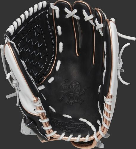 Black palm of a Rawlings HOH softball glove with a black web and white laces - SKU: PRO120SB-3BRG
