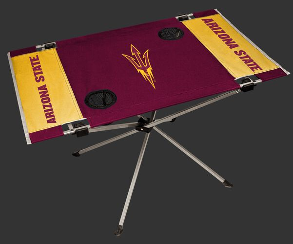 A maroon/yellow NCAA Arizona State Sun Devils endzone table with two cup holders and team logo printed in the middle