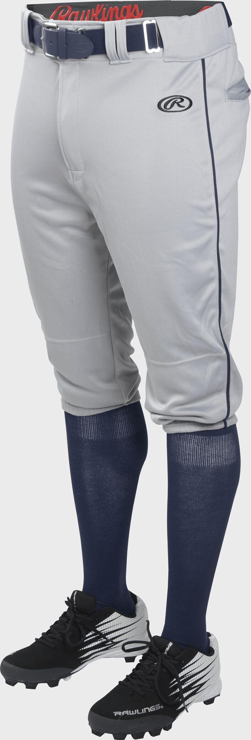 Front of Rawlings Blue Gray/Navy Adult Launch Piped Knicker Baseball Pant - SKU #LNCHKPP-BG/N