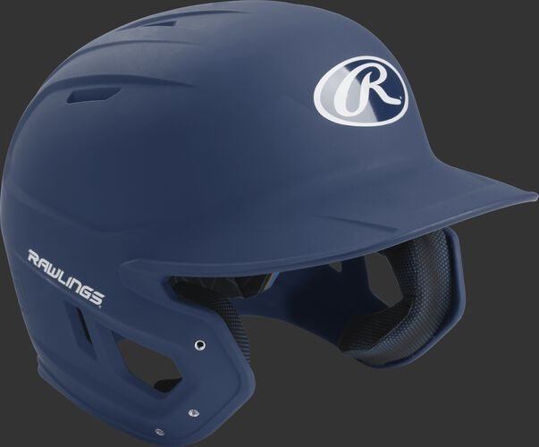 Right angle view of a matte MACH Senior batting helmet with a navy shell