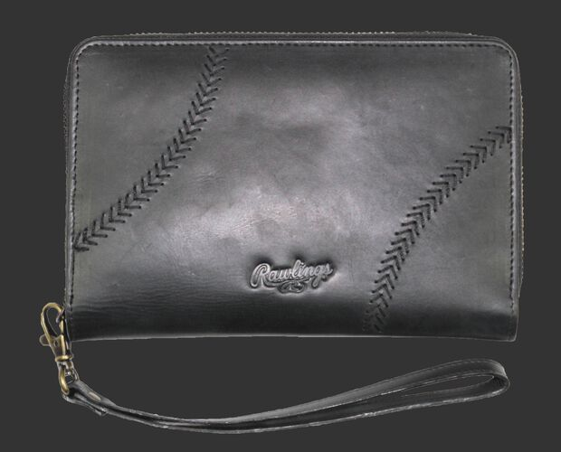 Front of Rawlings Black Baseball Stitch iPhone Zip Wallet With Brand Name and Baseball Stitches SKU #RW80000-001