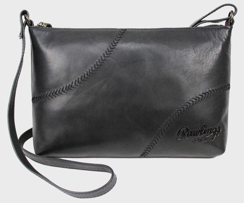 A black Baseball Stitch cross mini bag with a leather strap and baseball stitch design - SKU: RS10057-001