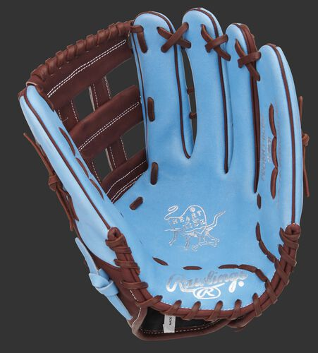Columbia blue palm of a Heart of the Hide exclusive outfield glove with a maroon web and laces - SKU: PROBH3-6CBM
